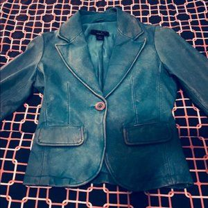 NWOT Arden B Teal Distressed Leather Jacket XS